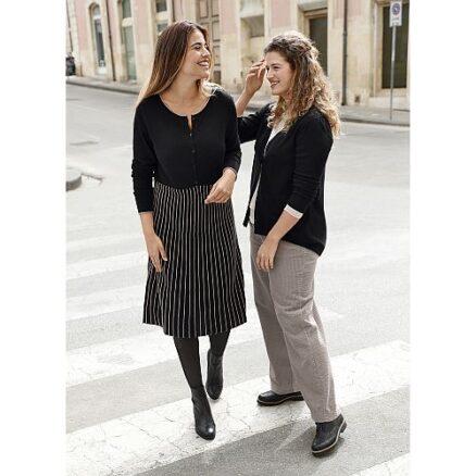 Zwarte jurk gestreepte rok