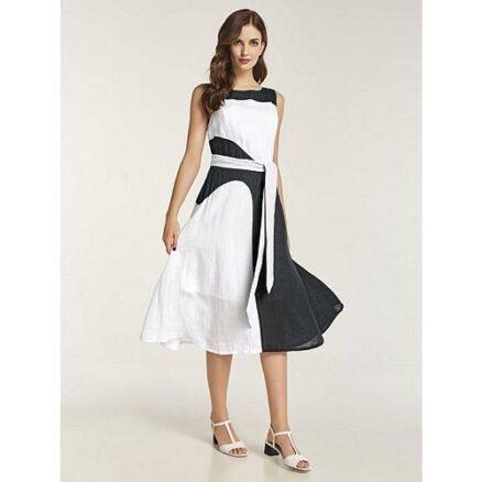 Linnen jurk met taillestrik