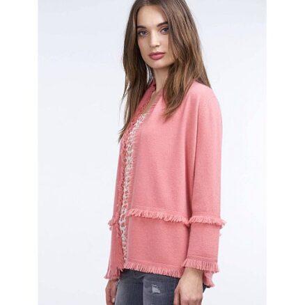 Roze vest met franjes