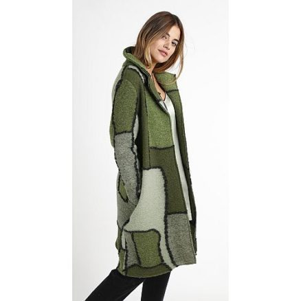 Patchwork mantel groen