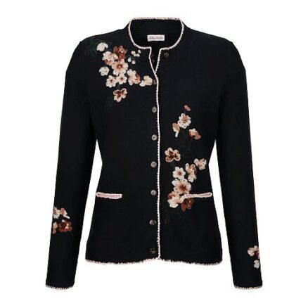 Vest met bloemenprint en strass steentjes
